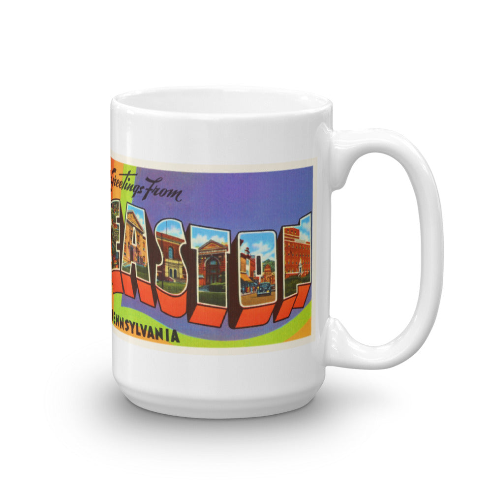 Mug – Easton PA Greetings From Pennsylvania Big Large Letter Postcard Retro Travel Gift Souvenir Coffee or Tea Cup - American Yesteryear