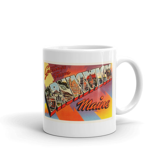Mug – Brunswick ME Greetings From Maine Big Large Letter Postcard Retro Travel Gift Souvenir Coffee or Tea Cup