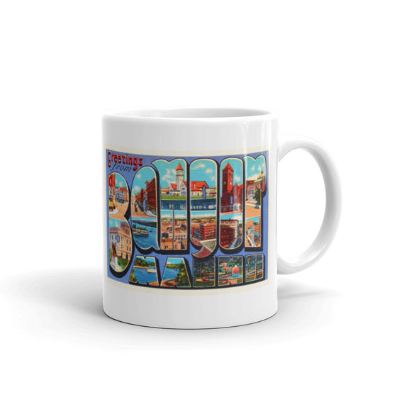 Mug – Bangor ME Greetings From Maine Big Large Letter Postcard Retro Travel Gift Souvenir Coffee or Tea Cup