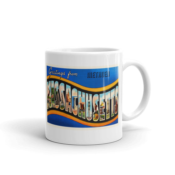 Mug – Methuen MA Greetings From Massachusetts Big Large Letter Postcard Retro Travel Gift Souvenir Coffee or Tea Cup - American Yesteryear
