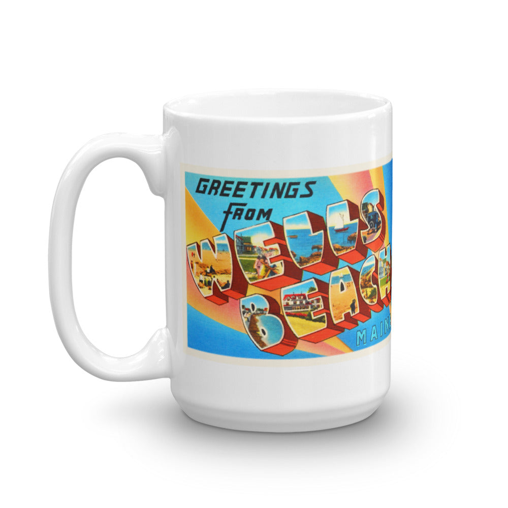 Mug – Wells Beach ME Greetings From Maine Big Large Letter Postcard Retro Travel Gift Souvenir Coffee or Tea Cup - American Yesteryear