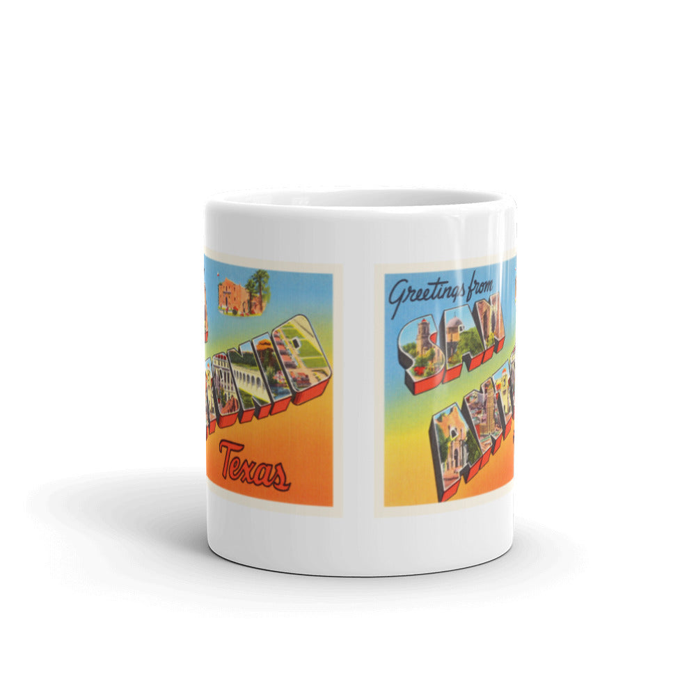 Mug – San Antonio TX Greetings From Texas Big Large Letter Postcard Retro Travel Gift Souvenir Coffee or Tea Cup - American Yesteryear