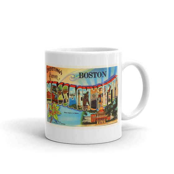 Mug – Boston MA #2 Greetings From Massachusetts Big Large Letter Postcard Retro Travel Gift Souvenir Coffee or Tea Cup - American Yesteryear