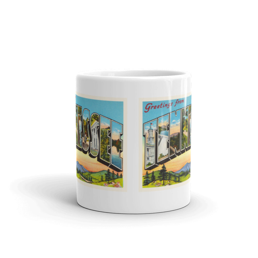 Mug – State of Tennessee Greetings From TN Big Large Letter Postcard Retro Travel Gift Souvenir Coffee or Tea Cup - American Yesteryear