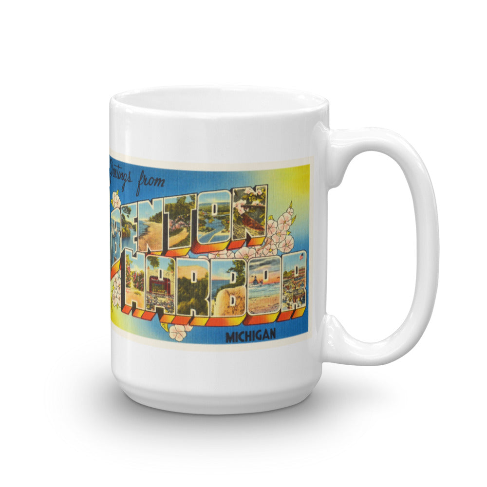 Mug – Benton Harbor MI Greetings From Michigan Big Large Letter Postcard Retro Travel Gift Souvenir Coffee or Tea Cup - American Yesteryear