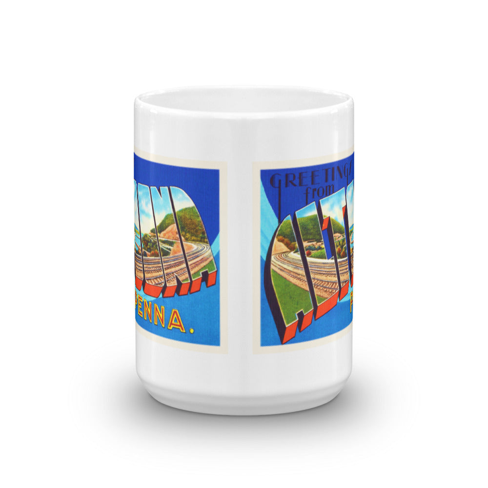 Mug – Altoona PA Greetings From Pennsylvania Big Large Letter Postcard Retro Travel Gift Souvenir Coffee or Tea Cup - American Yesteryear