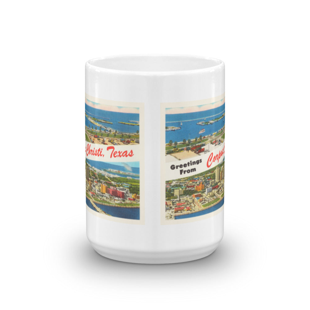 Mug – Corpus Christi TX Greetings From Texas Big Large Letter Postcard Retro Travel Gift Souvenir Coffee or Tea Cup