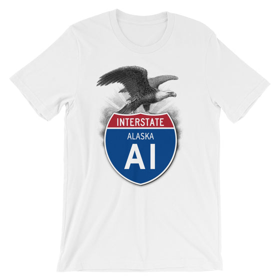 Alaska AK I-A1 Highway Interstate Shield T-Shirt TShirt Tee - American Yesteryear