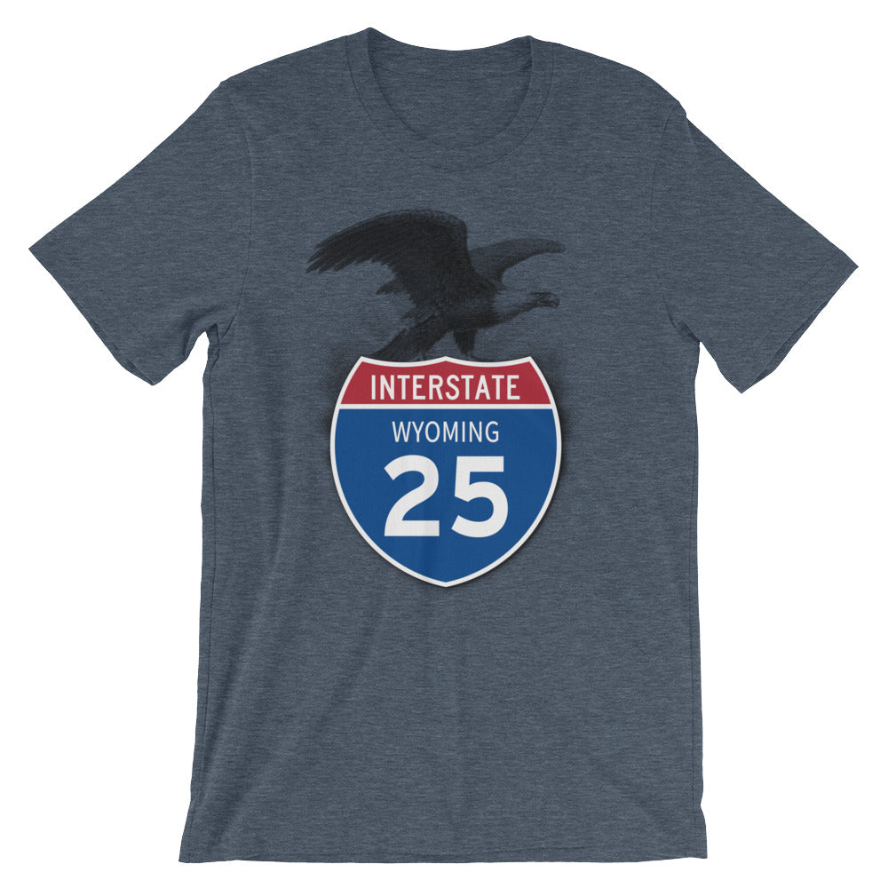 Wyoming WY I-25 Highway Interstate Shield TShirt Tee - American Yesteryear