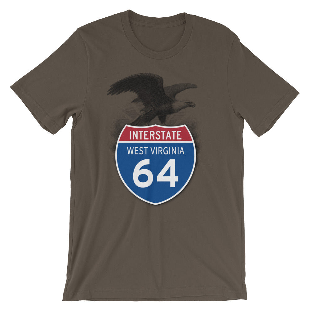 West Virginia WV I-64 Highway Interstate Shield TShirt Tee - American Yesteryear