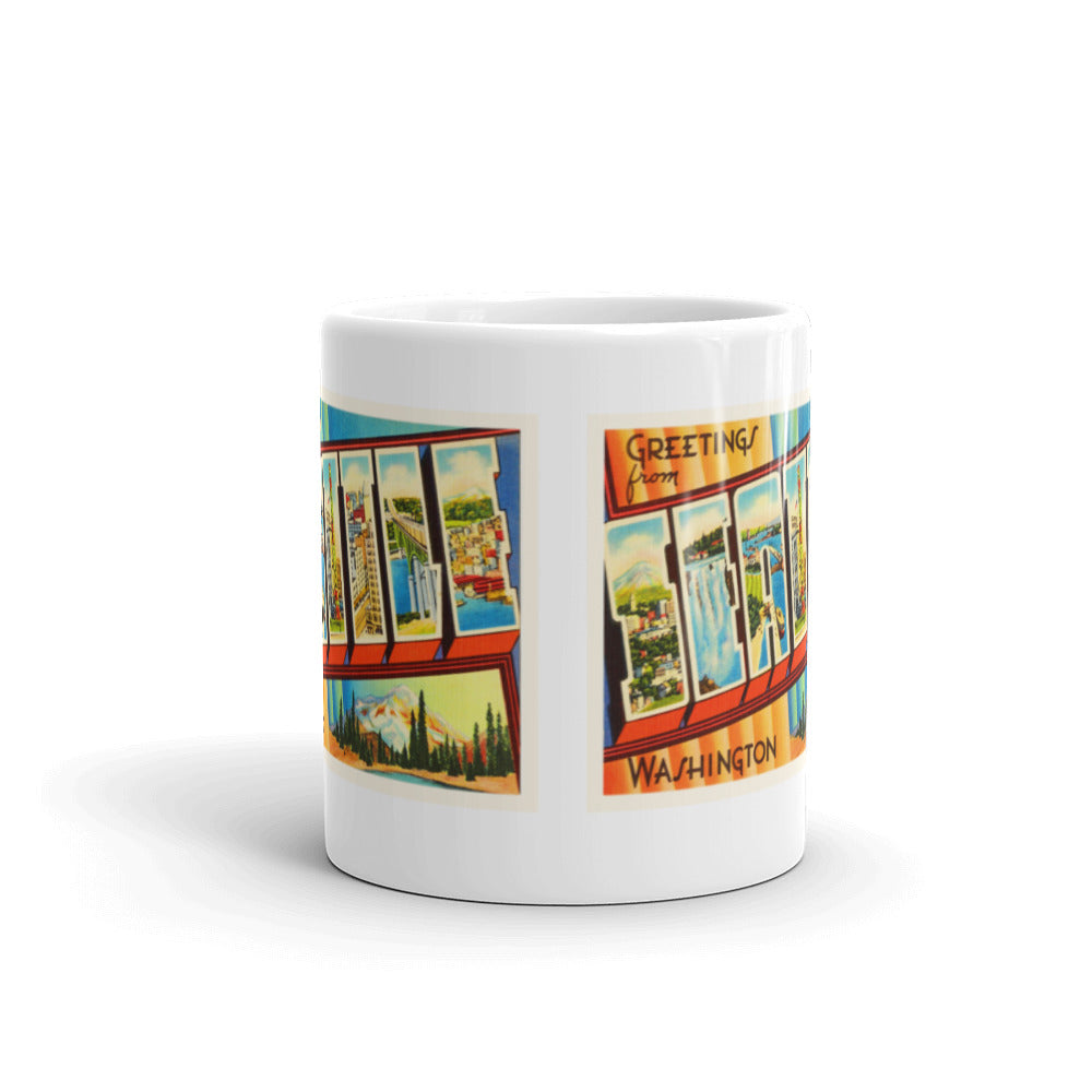 Mug – Seattle WA Greetings From Washington Big Large Letter Postcard Retro Travel Gift Souvenir Coffee or Tea Cup - American Yesteryear