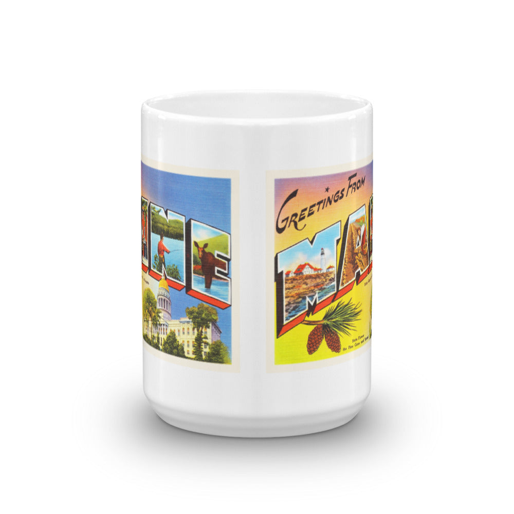 Mug – State of Maine Greetings From ME Big Large Letter Postcard Retro Travel Gift Souvenir Coffee or Tea Cup - American Yesteryear