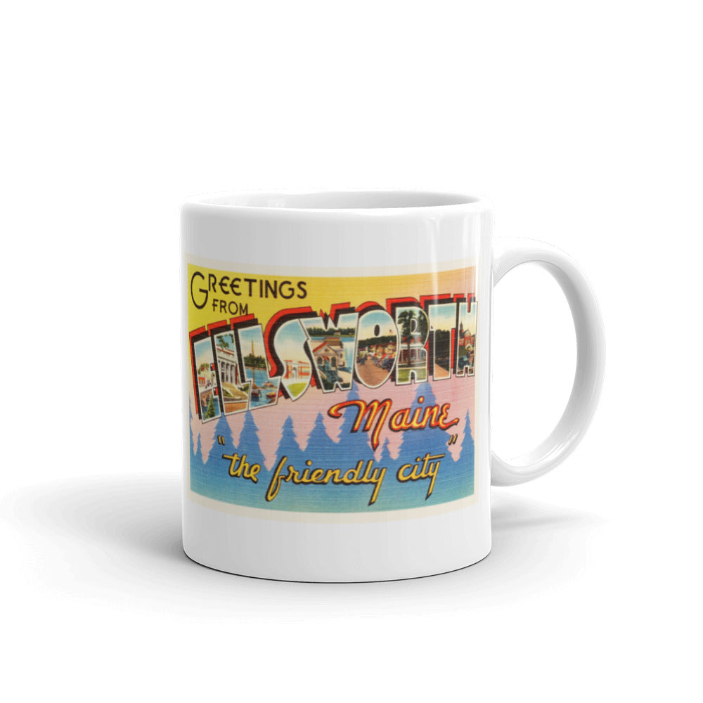 Mug – Ellsworth ME Greetings From Maine Big Large Letter Postcard Retro Travel Gift Souvenir Coffee or Tea Cup - American Yesteryear