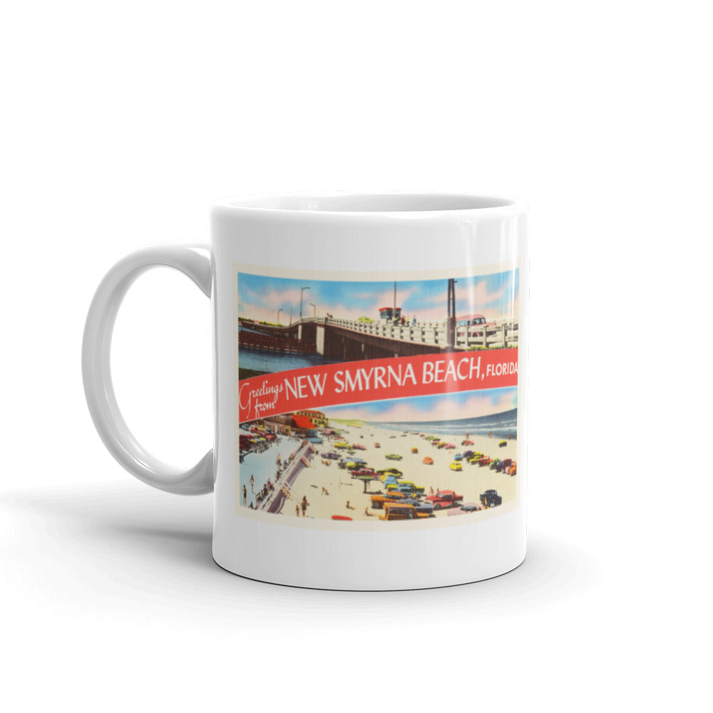 Mug – New Smyrna Beach FL Greetings From Florida Big Large Letter Postcard Retro Travel Gift Souvenir Coffee or Tea Cup - American Yesteryear