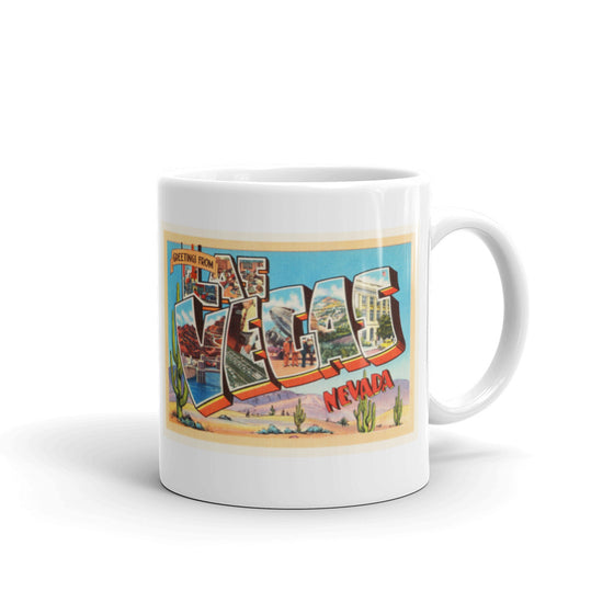 Mug – Las Vegas NV Greetings From Nevada Big Large Letter Postcard Retro Travel Gift Souvenir Coffee or Tea Cup