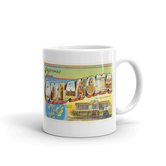Mug – State of Oklahoma Greetings From OK Big Large Letter Postcard Retro Travel Gift Souvenir Coffee or Tea Cup