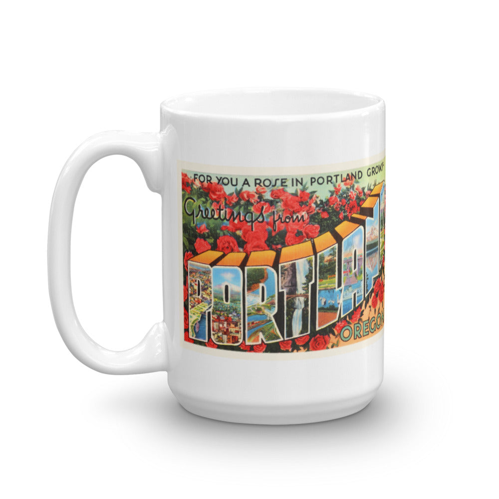 Mug – Portland OR Greetings From Oregon Big Large Letter Postcard Retro Travel Gift Souvenir Coffee or Tea Cup