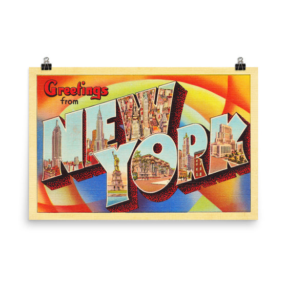 Poster Print - New York City NY Big Large Letter Postcard Souvenir - American Yesteryear