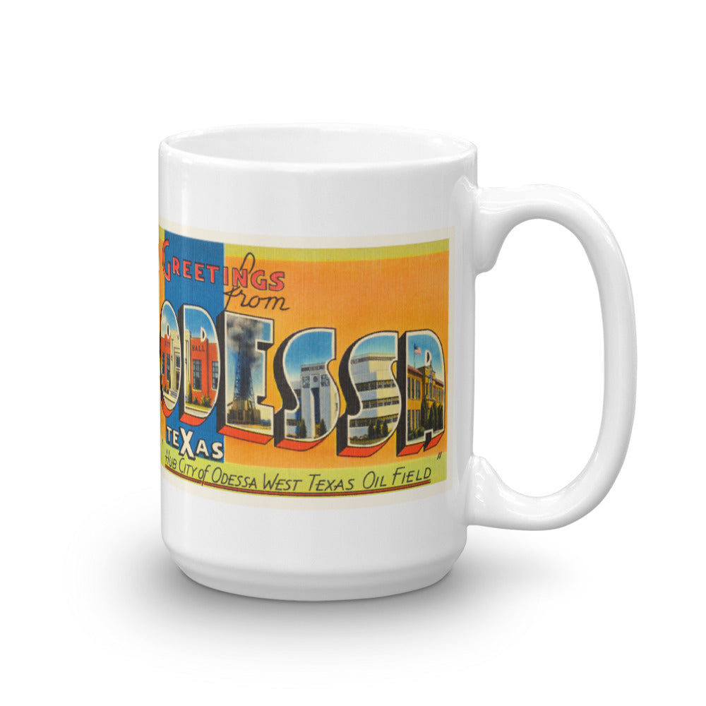 Mug – Odessa TX Greetings From Texas Big Large Letter Postcard Retro Travel Gift Souvenir Coffee or Tea Cup - American Yesteryear