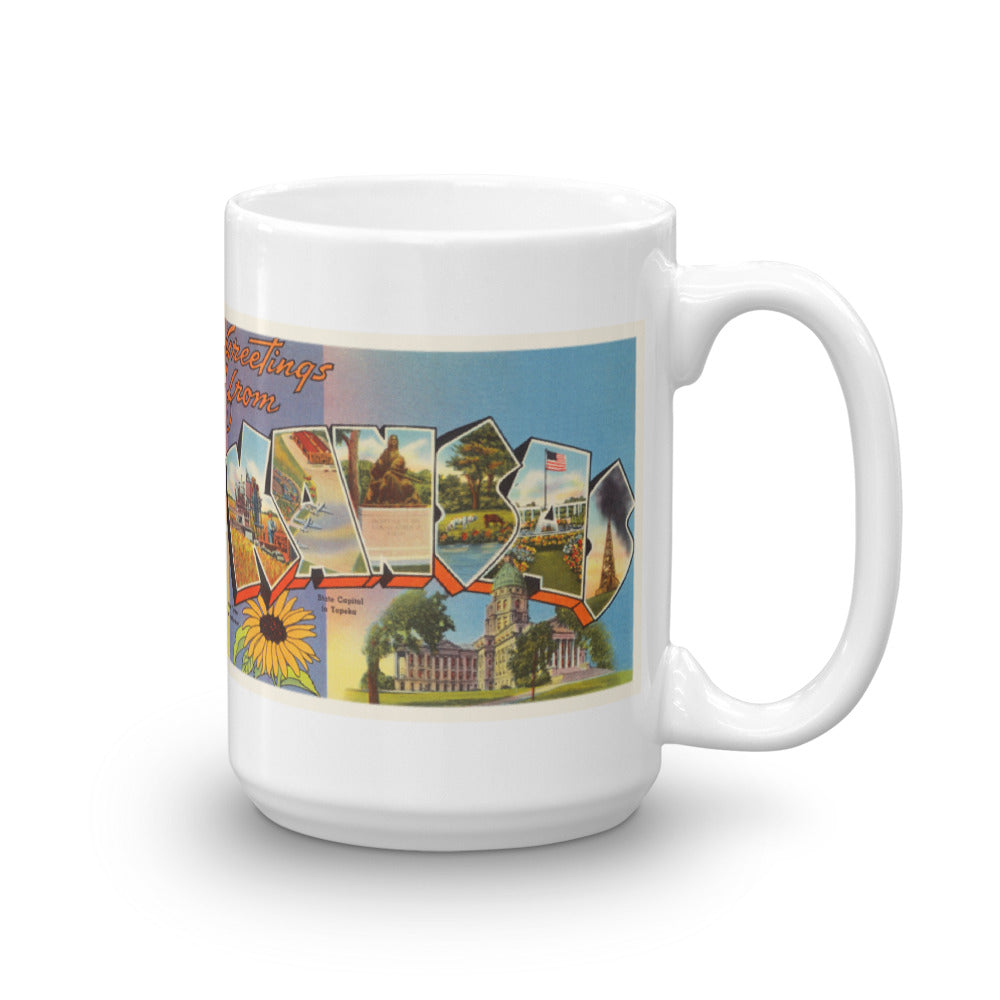 Mug – State of Kansas Greetings From KS Big Large Letter Postcard Retro Travel Gift Souvenir Coffee or Tea Cup - American Yesteryear