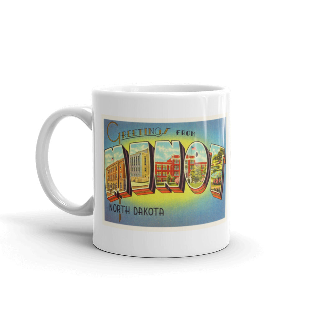 Mug – Minot ND Greetings From North Dakota Big Large Letter Postcard Retro Travel Gift Souvenir Coffee or Tea Cup - American Yesteryear