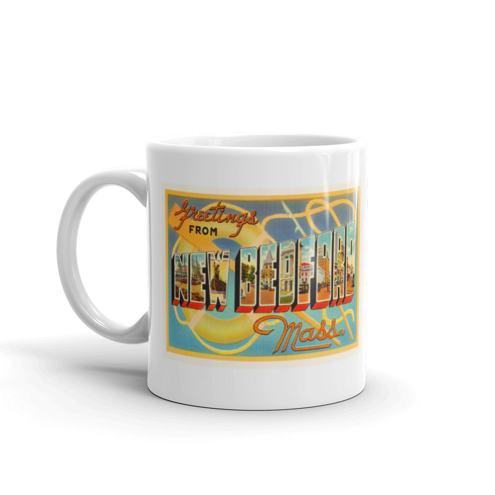 Mug – New Bedford MA Greetings From Massachusetts Big Large Letter Postcard Retro Travel Gift Souvenir Coffee or Tea Cup - American Yesteryear