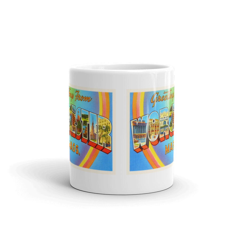 Mug – Worcester MA Greetings From Massachusetts Big Large Letter Postcard Retro Travel Gift Souvenir Coffee or Tea Cup - American Yesteryear