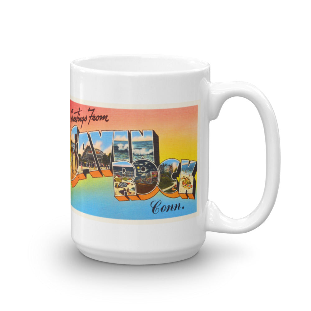 Mug – Savin Rock CT Greetings From Connecticut Big Large Letter Postcard Retro Travel Gift Souvenir Coffee or Tea Cup - American Yesteryear