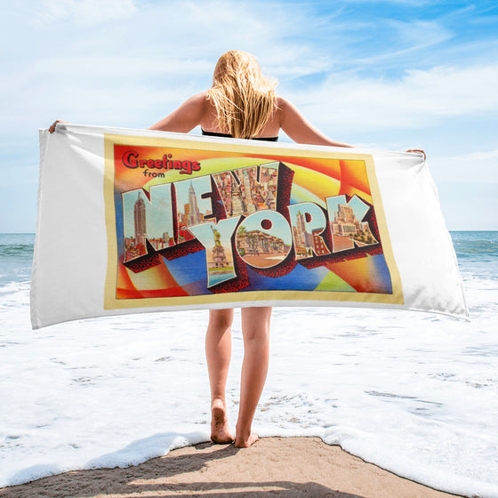 Beach Towel - New York City NY Big Large Letter Postcard Souvenir - American Yesteryear