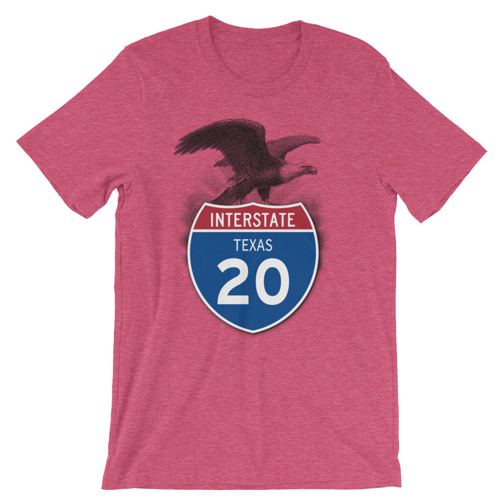 Texas TX I-20 Highway Interstate Shield TShirt Tee