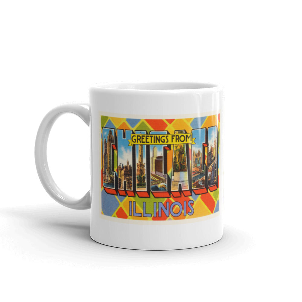Mug – Chicago IL Greetings From Illinois Big Large Letter Postcard Retro Travel Gift Souvenir Coffee or Tea Cup - American Yesteryear