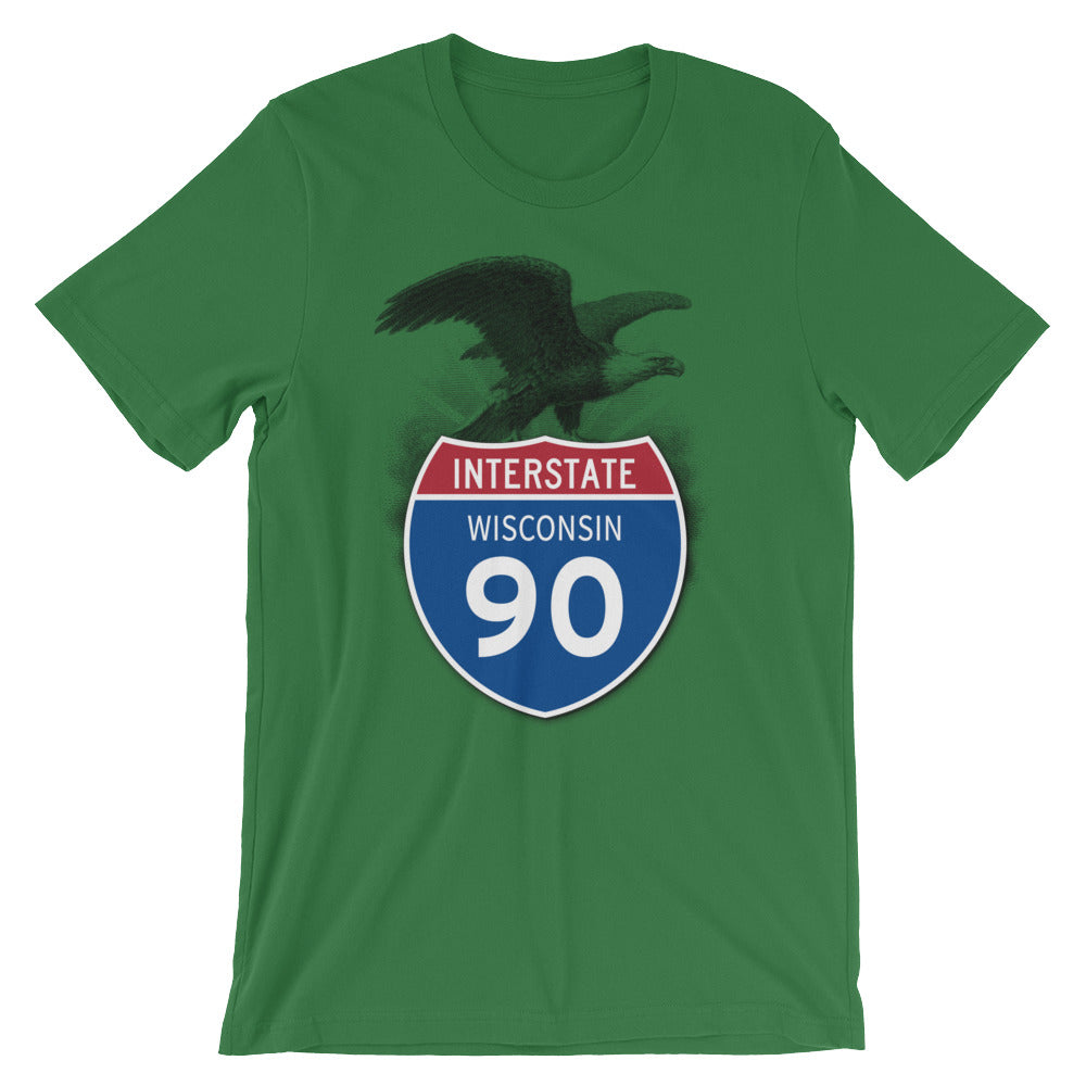 Wisconsin WI I-90 Highway Interstate Shield TShirt Tee - American Yesteryear