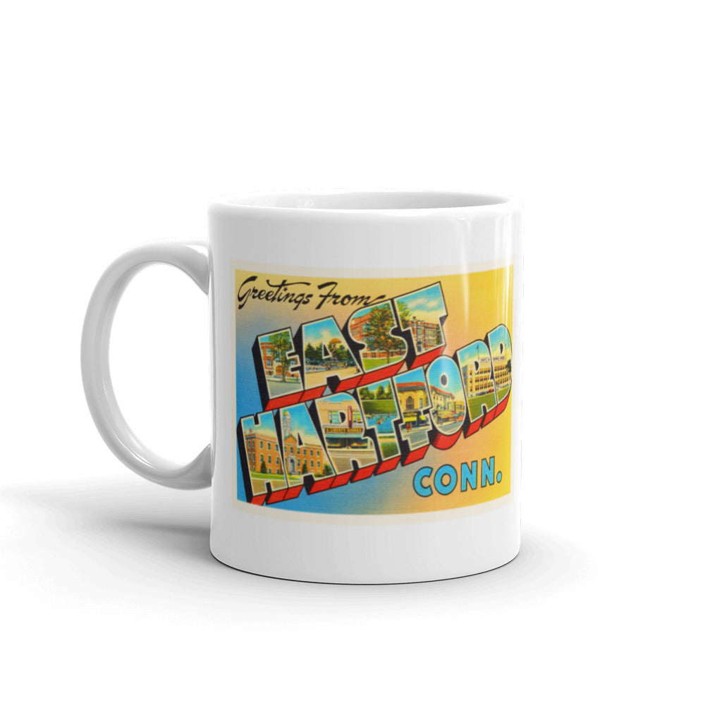 Mug – East Hartford CT Greetings From Connecticut Big Large Letter Postcard Retro Travel Gift Souvenir Coffee or Tea Cup - American Yesteryear