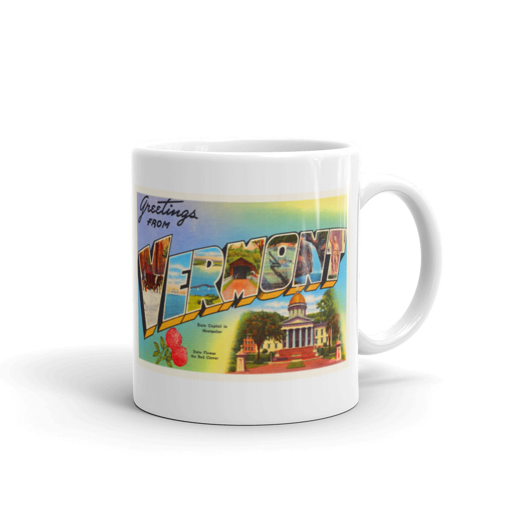 Mug – State of Vermont Greetings From VT Big Large Letter Postcard Retro Travel Gift Souvenir Coffee or Tea Cup - American Yesteryear