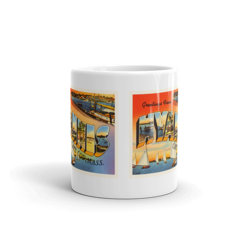 Mug – Hyannis Cape Cod MA Greetings From Massachusetts Big Large Letter Postcard Retro Travel Gift Souvenir Coffee or Tea Cup - American Yesteryear