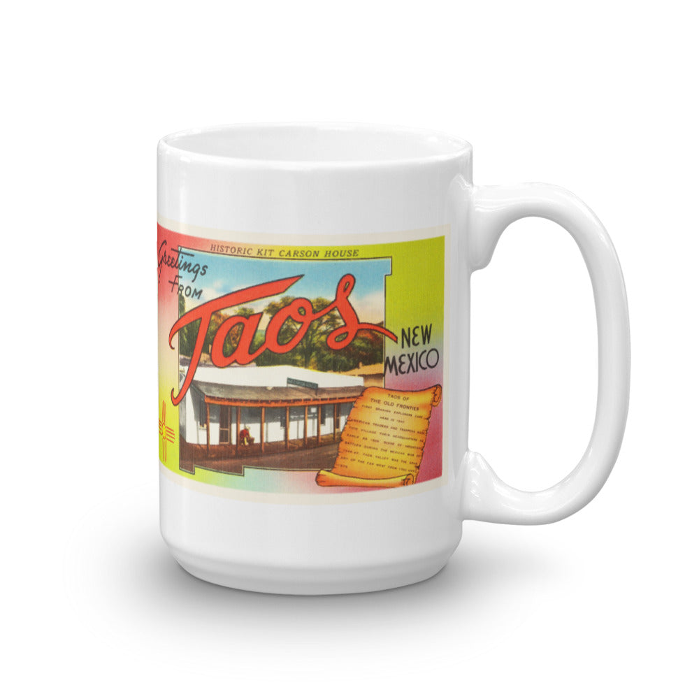 Mug – Taos NM Greetings From New Mexico Big Large Letter Postcard Retro Travel Gift Souvenir Coffee or Tea Cup - American Yesteryear