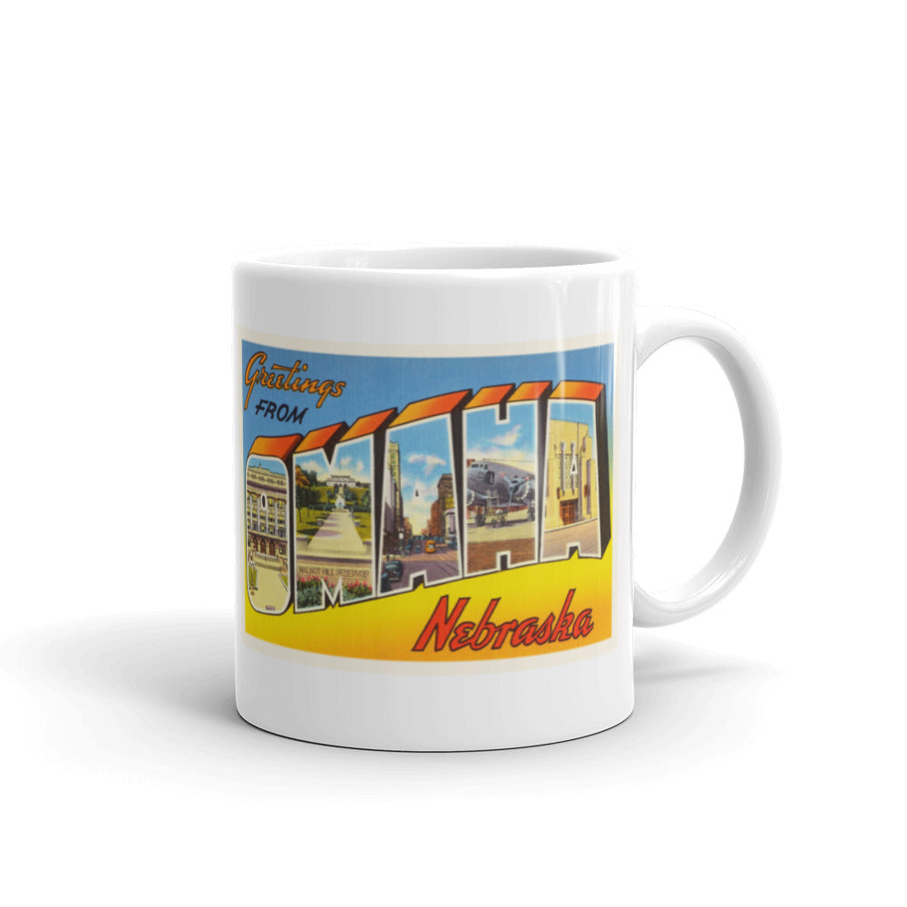 Mug – Omaha NE Greetings From Nebraska Big Large Letter Postcard Retro Travel Gift Souvenir Coffee or Tea Cup - American Yesteryear