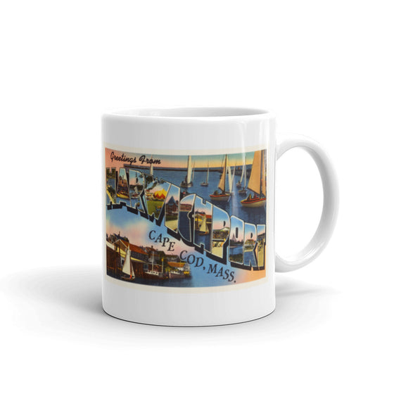 Mug – Harwichport Cape Cod MA Greetings From Massachusetts Big Large Letter Postcard Retro Travel Gift Souvenir Coffee or Tea Cup - American Yesteryear