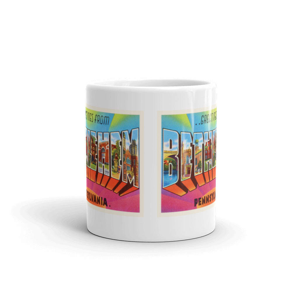 Mug – Bethlehem PA Greetings From Pennsylvania Big Large Letter Postcard Retro Travel Gift Souvenir Coffee or Tea Cup - American Yesteryear