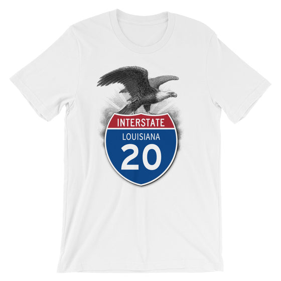 Louisiana LA I-20 Highway Interstate Shield TShirt Tee - American Yesteryear