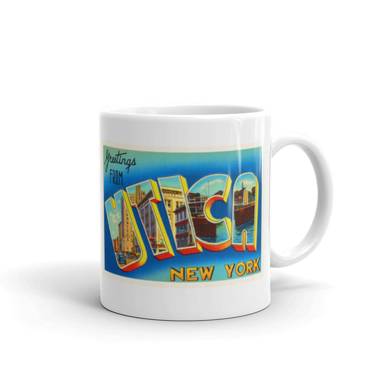 Mug – Utica NY Greetings From New York Big Large Letter Postcard Retro Travel Gift Souvenir Coffee or Tea Cup