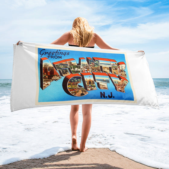 Beach Towel - Atlantic City New Jersey NJ Big Large Letter Postcard Souvenir - American Yesteryear