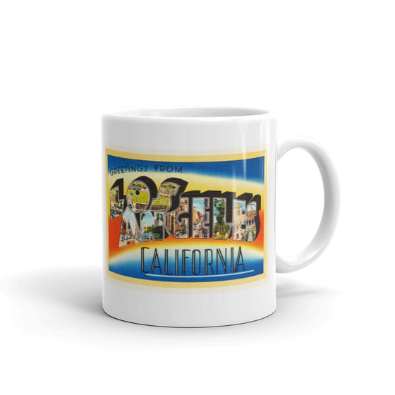 Mug – Los Angeles CA Greetings From California Big Large Letter Postcard Retro Travel Gift Souvenir Coffee or Tea Cup - American Yesteryear