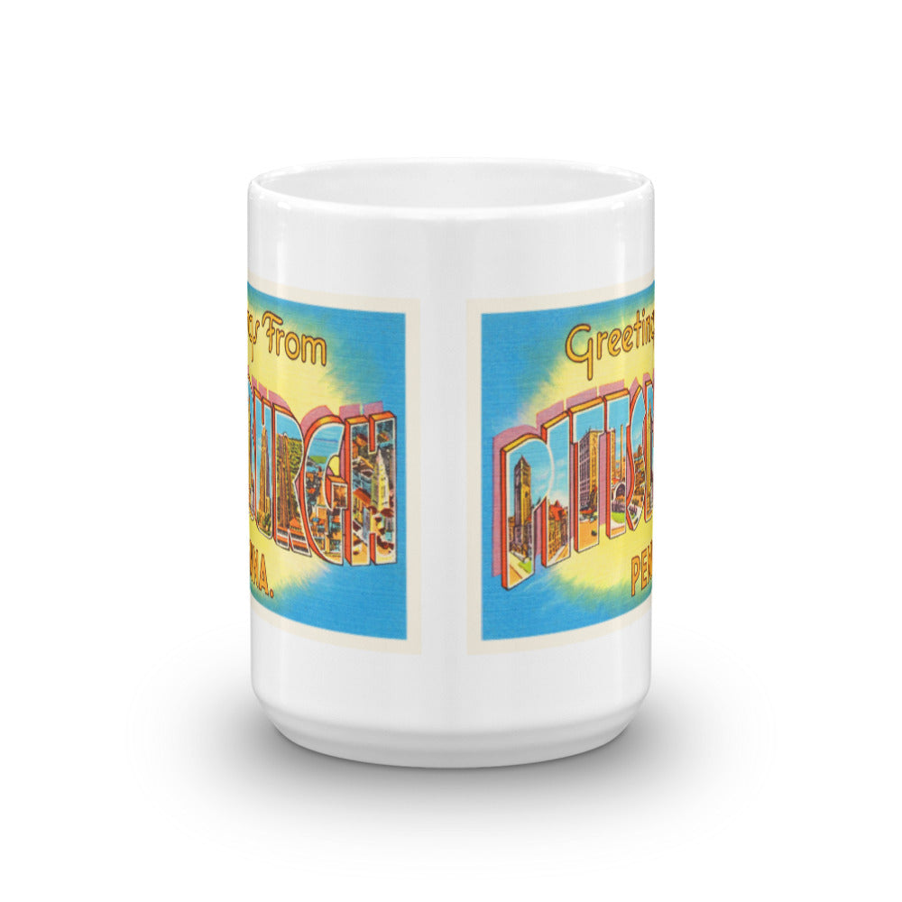 Mug – Pittsburgh PA Greetings From Pennsylvania Big Large Letter Postcard Retro Travel Gift Souvenir Coffee or Tea Cup