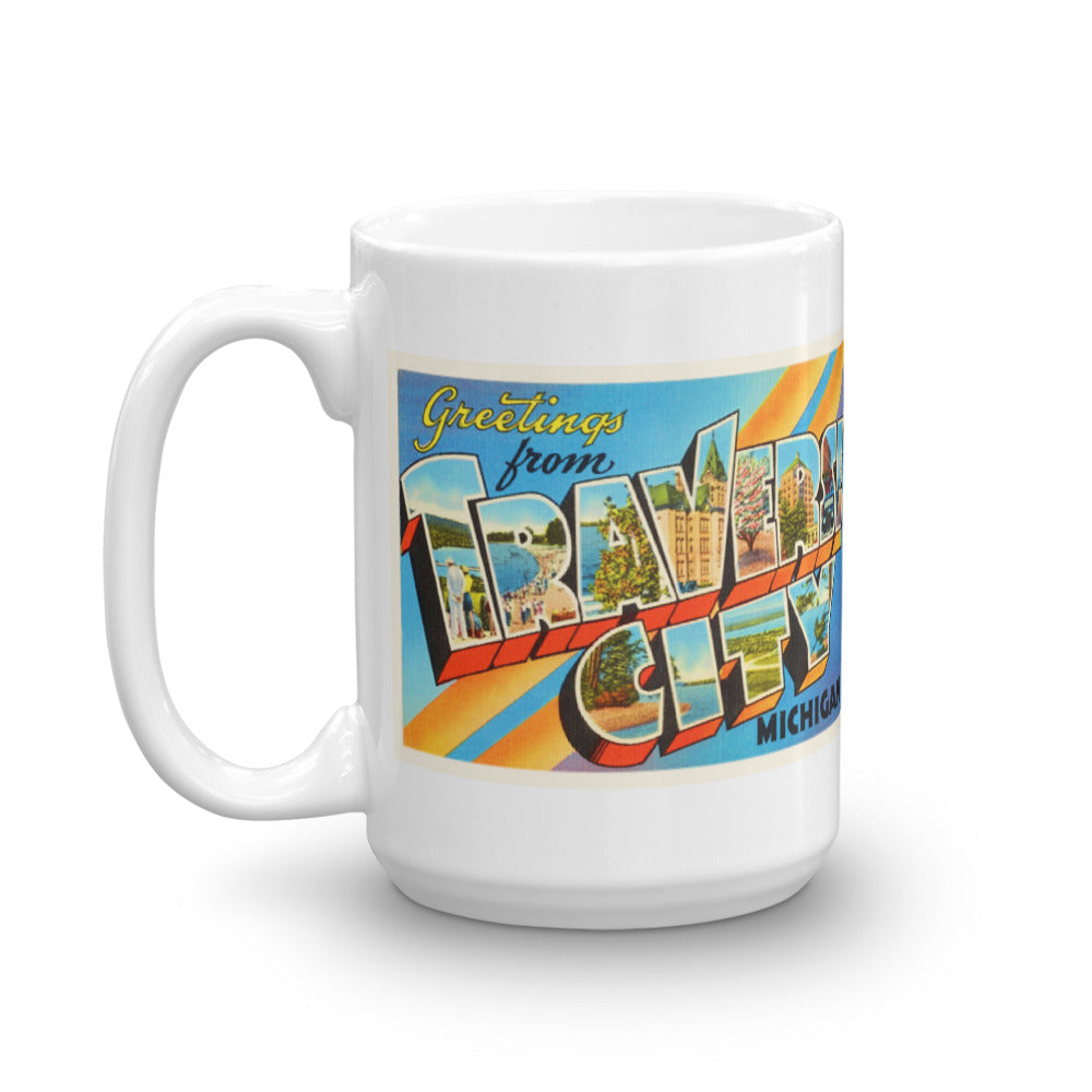 Mug – Traverse City MI Greetings From Michigan Big Large Letter Postcard Retro Travel Gift Souvenir Coffee or Tea Cup - American Yesteryear