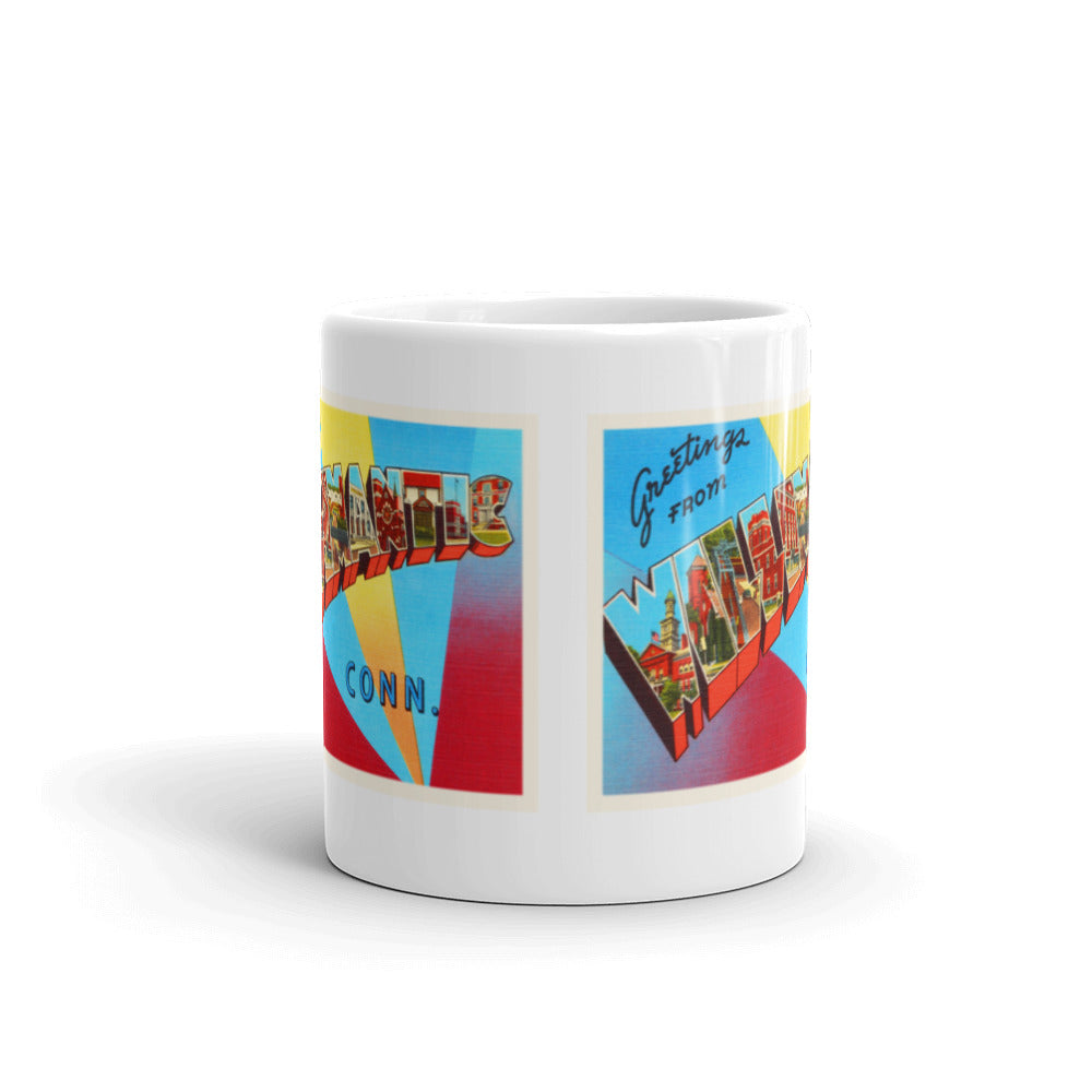 Mug – Willimantic CT Greetings From Connecticut Big Large Letter Postcard Retro Travel Gift Souvenir Coffee or Tea Cup - American Yesteryear
