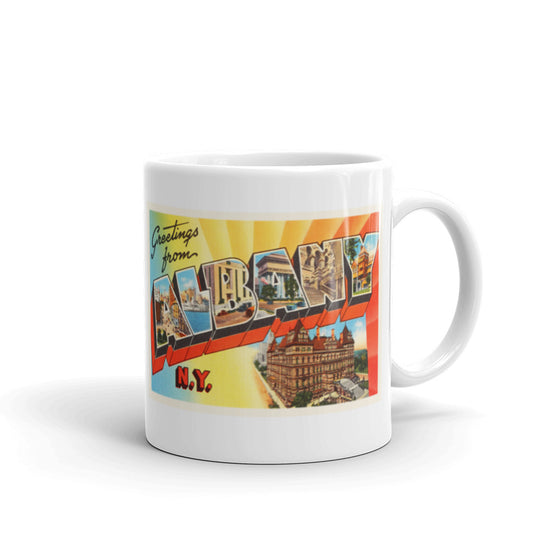 Mug – Albany NY Greetings From New York Big Large Letter Postcard Retro Travel Gift Souvenir Coffee or Tea Cup - American Yesteryear
