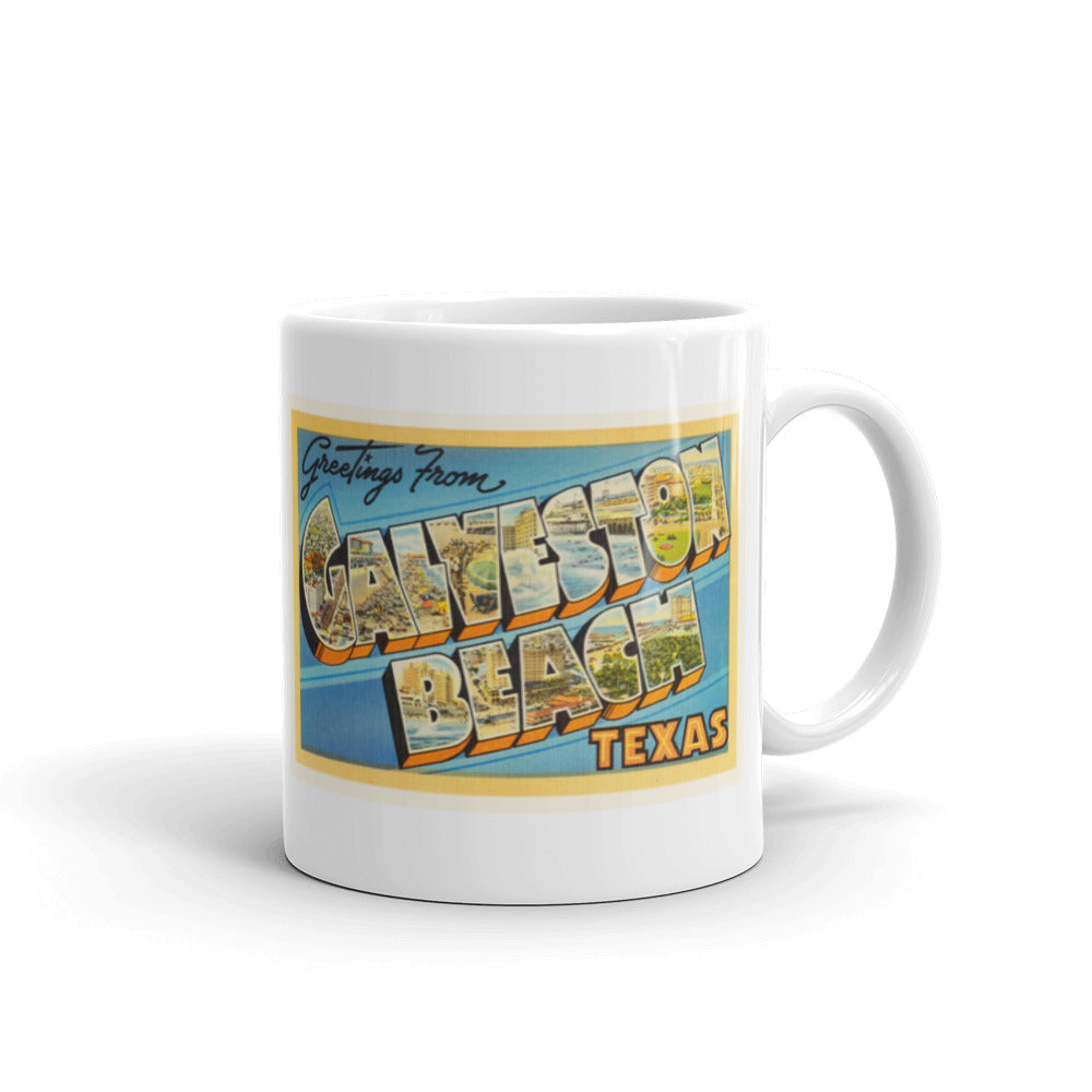 Mug – Galveston Beach TX Greetings From Texas Big Large Letter Postcard Retro Travel Gift Souvenir Coffee or Tea Cup - American Yesteryear