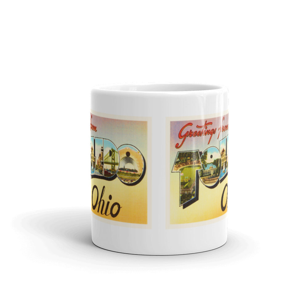 Mug – Toledo OH Greetings From Ohio Big Large Letter Postcard Retro Travel Gift Souvenir Coffee or Tea Cup - American Yesteryear