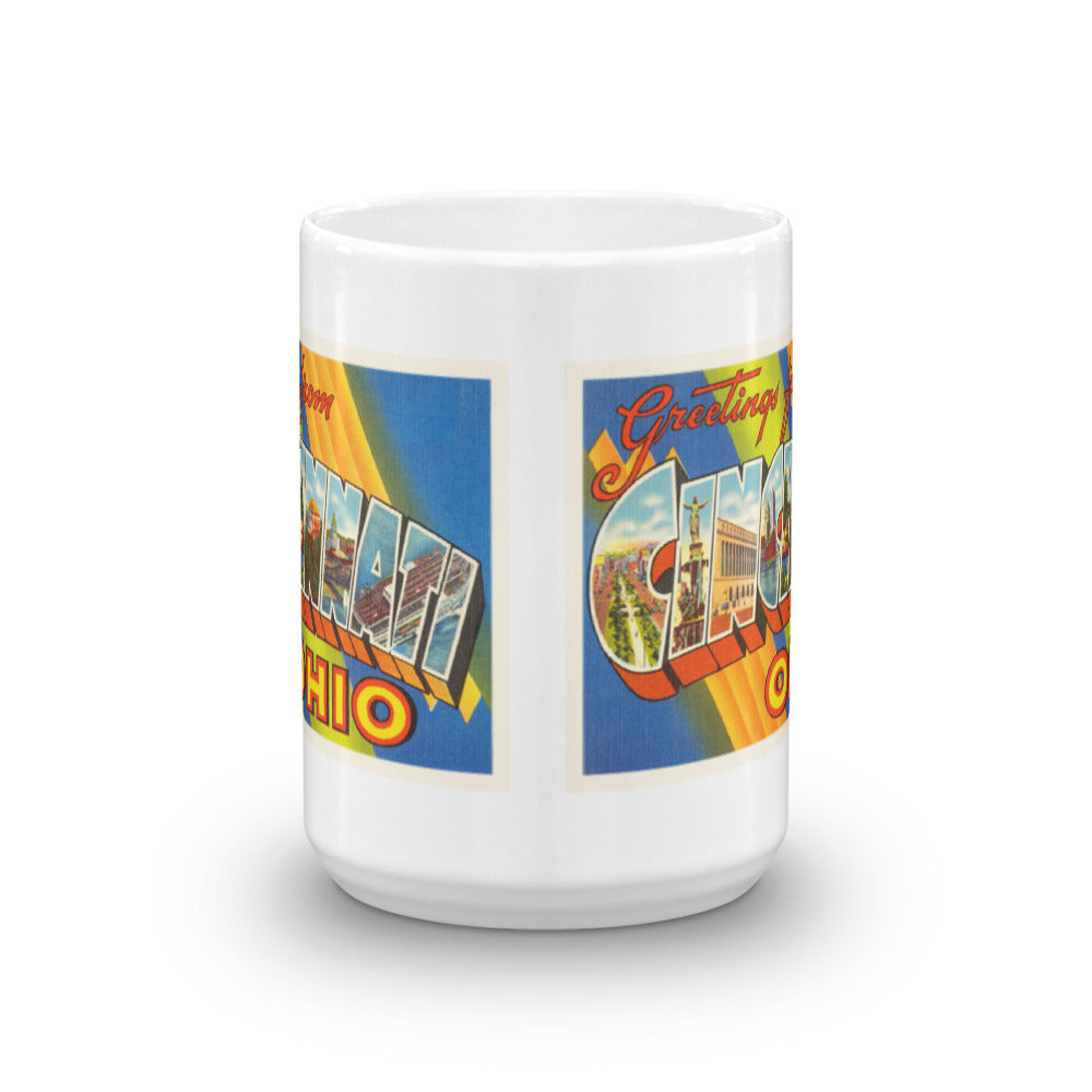 Mug – Cincinnati OH Greetings From Ohio Big Large Letter Postcard Retro Travel Gift Souvenir Coffee or Tea Cup - American Yesteryear